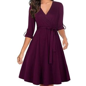 Half Sleeve V-Neck Swing Dress